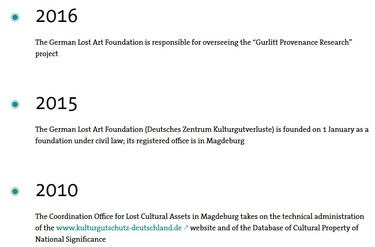 History of the German Lost Art Foundation until today (refer to: Chronology)